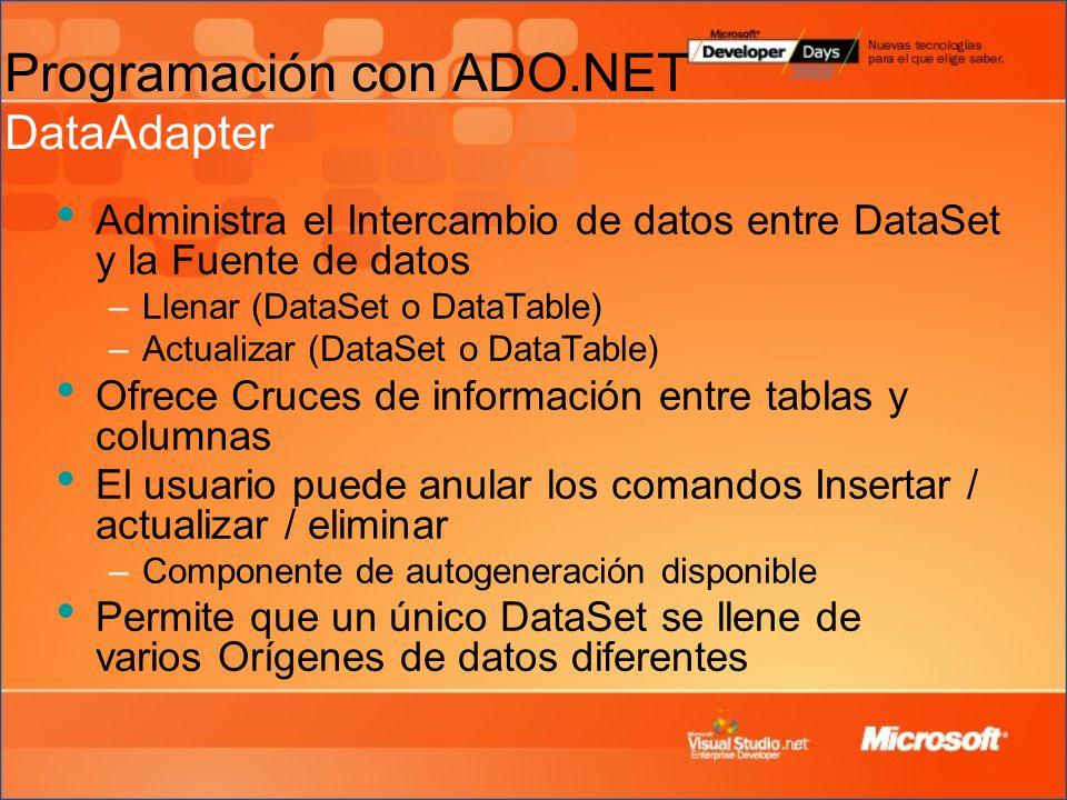 Programación con ADO.NET DataAdapter
