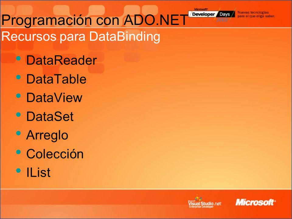 Programación con ADO.NET Recursos para DataBinding