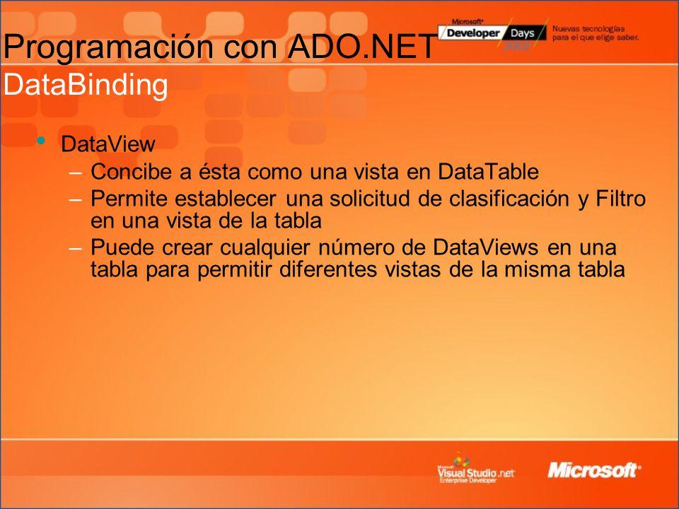 Programación con ADO.NET DataBinding