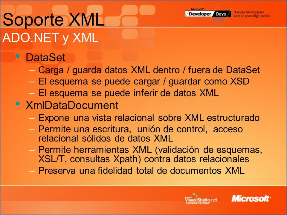 Soporte XML ADO.NET y XML