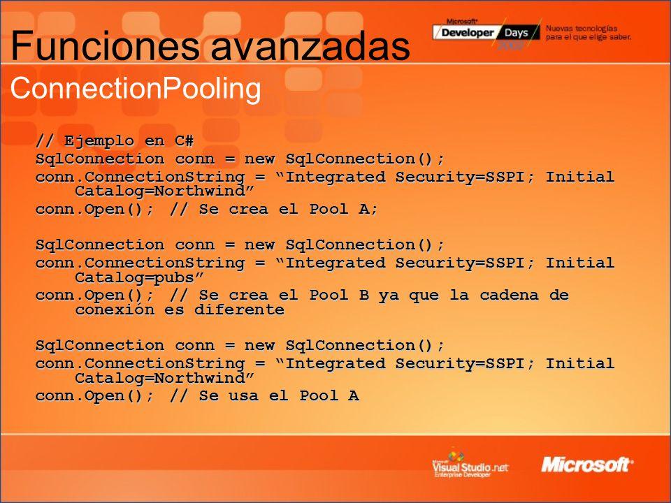 Funciones avanzadas ConnectionPooling
