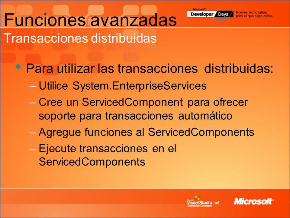 Funciones avanzadas Transacciones distribuidas