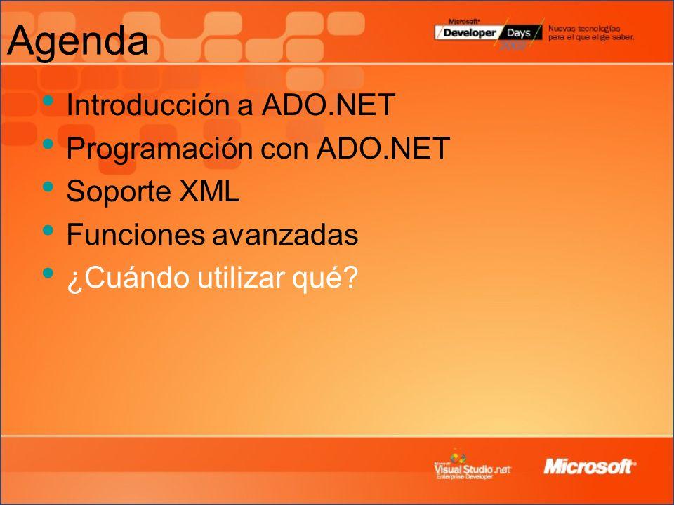 Agenda Introducción a ADO.NET Programación con ADO.NET Soporte XML