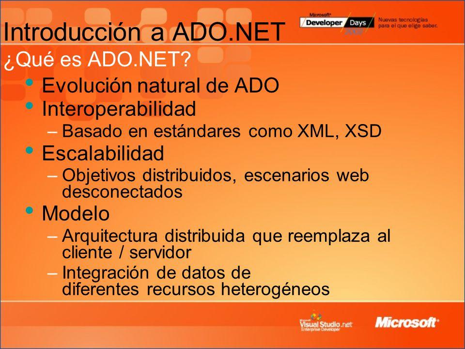 Introducción a ADO.NET ¿Qué es ADO.NET