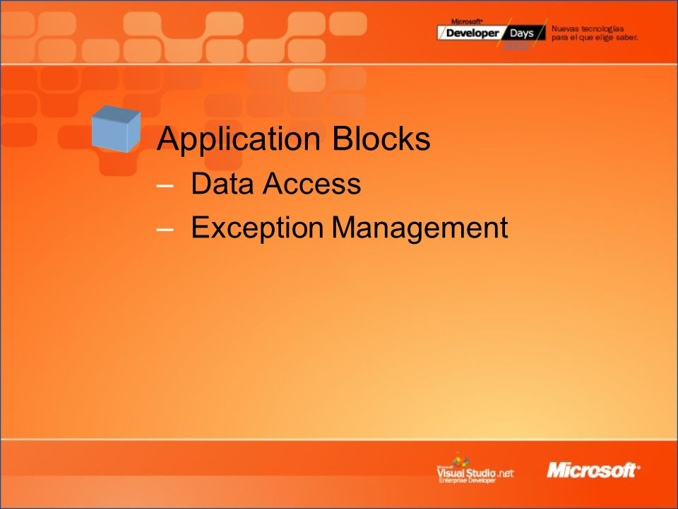 Application Blocks Data Access Exception Management