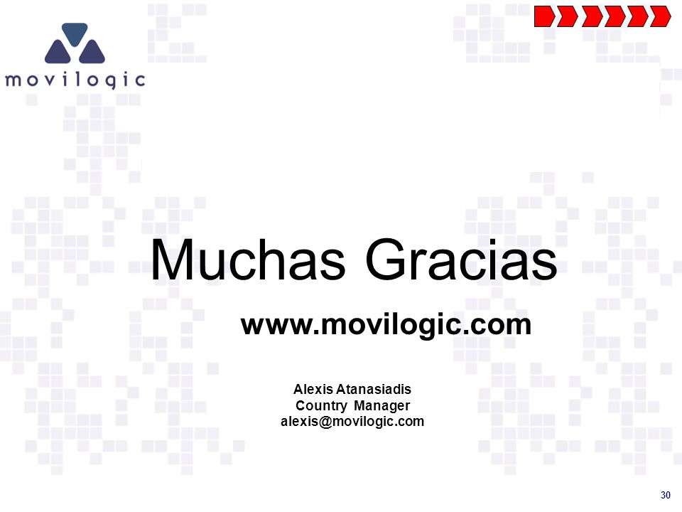 Muchas Gracias www.movilogic.com Alexis Atanasiadis Country Manager