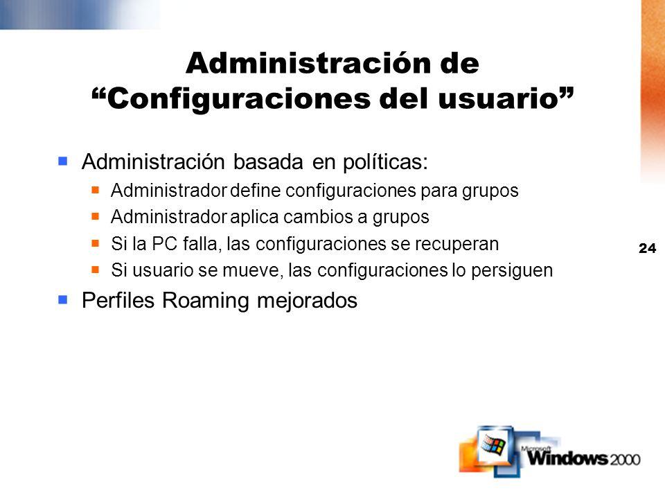 Administración de Configuraciones del usuario