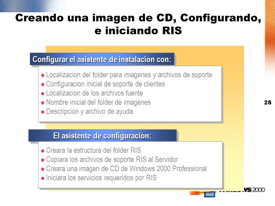 Creando una imagen de CD, Configurando, e iniciando RIS