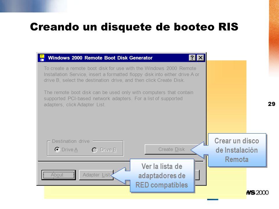 Creando un disquete de booteo RIS