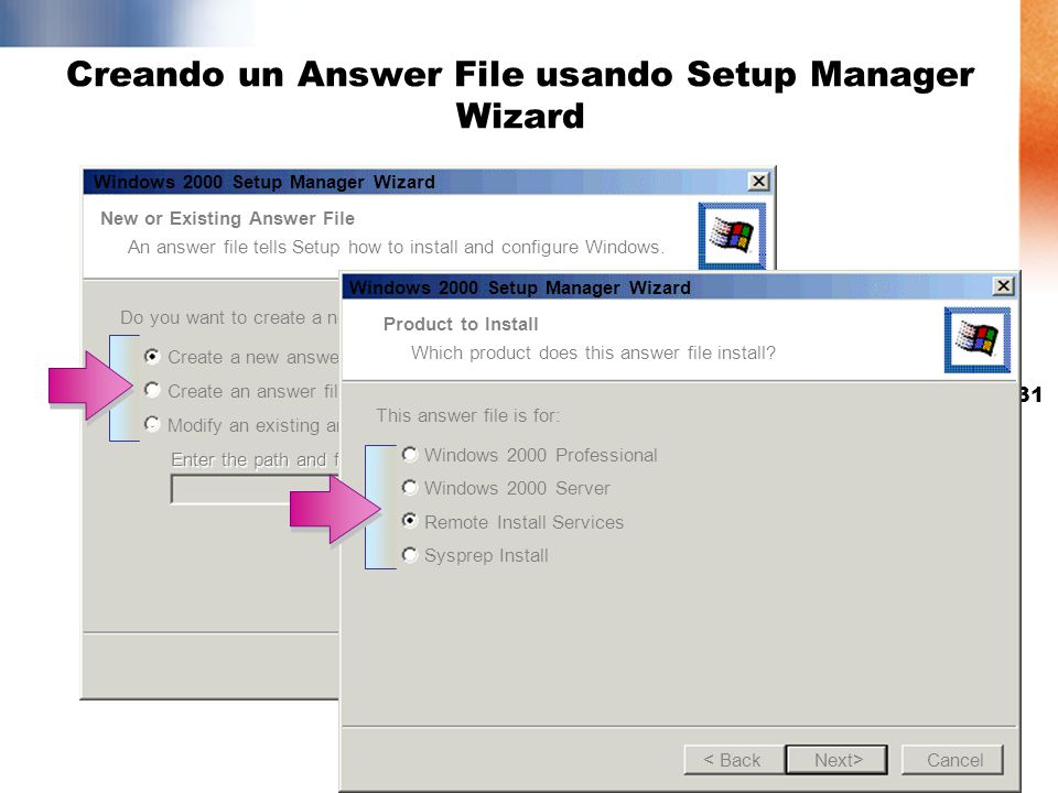 Creando un Answer File usando Setup Manager Wizard
