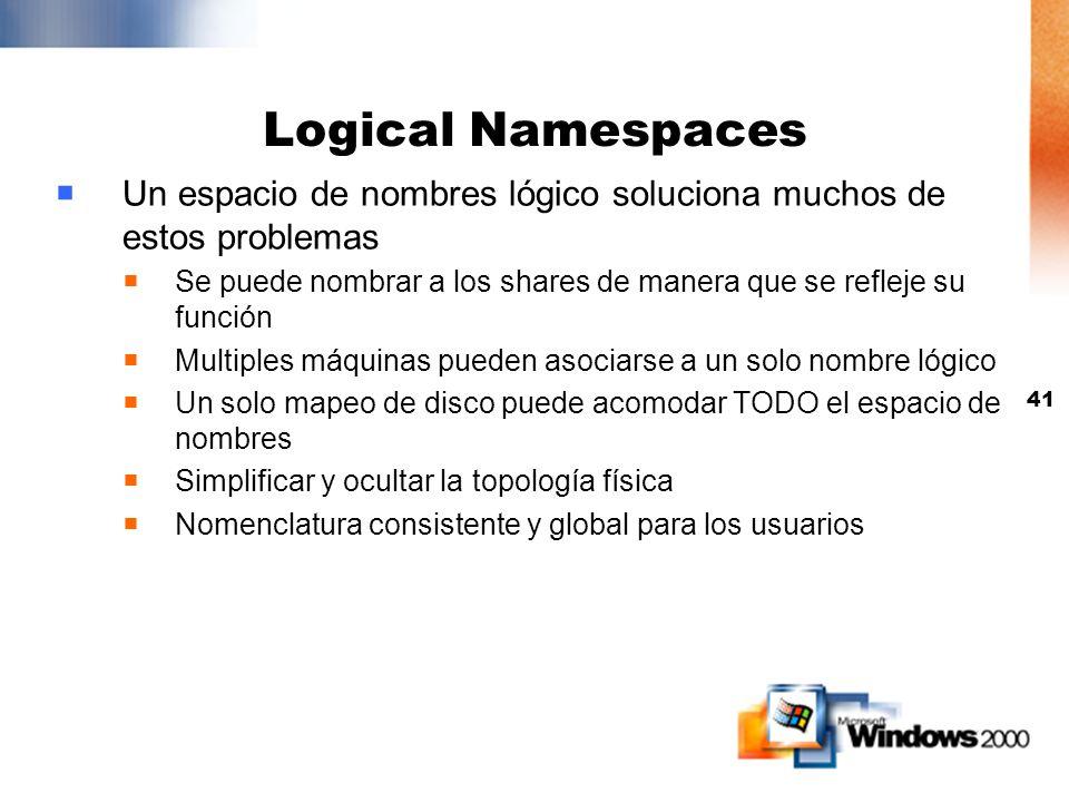 Logical Namespaces Un espacio de nombres lógico soluciona muchos de estos problemas.