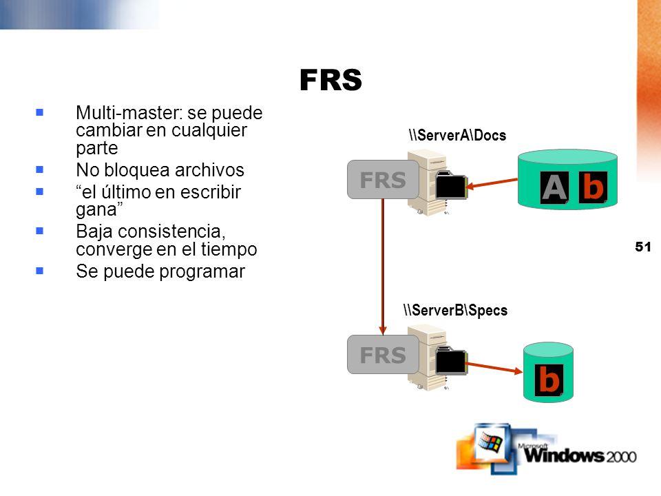 FRS Multi-master: se puede cambiar en cualquier parte. No bloquea archivos. el último en escribir gana