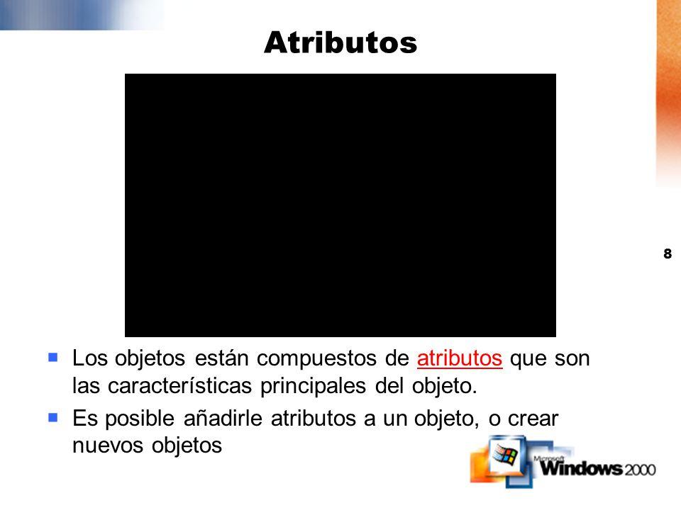 Atributos Los objetos están compuestos de atributos que son las características principales del objeto.