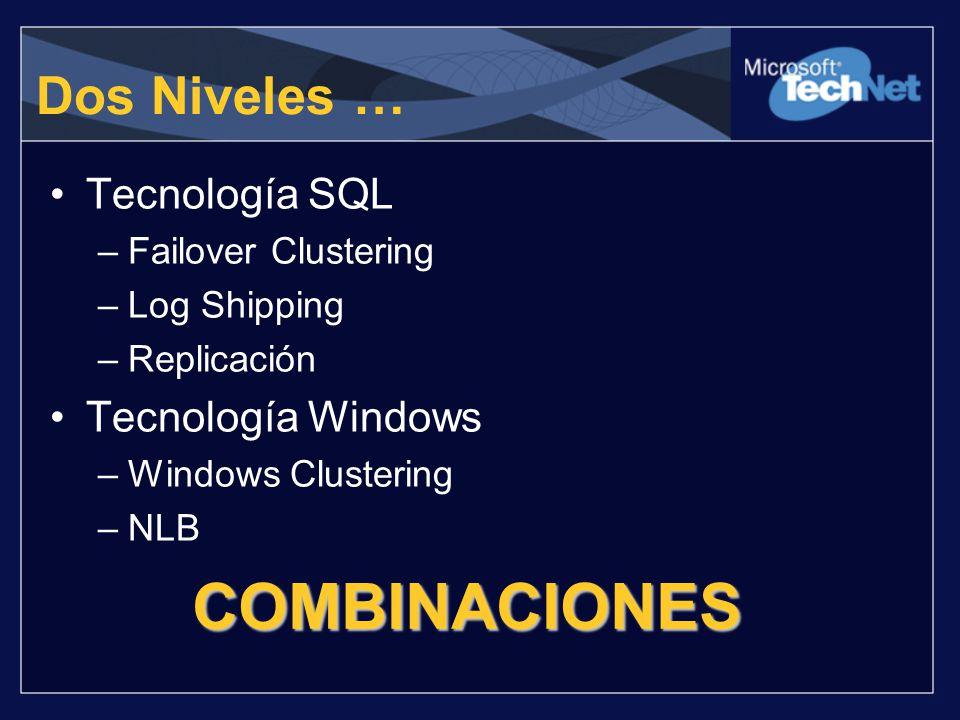 COMBINACIONES Dos Niveles … Tecnología SQL Tecnología Windows