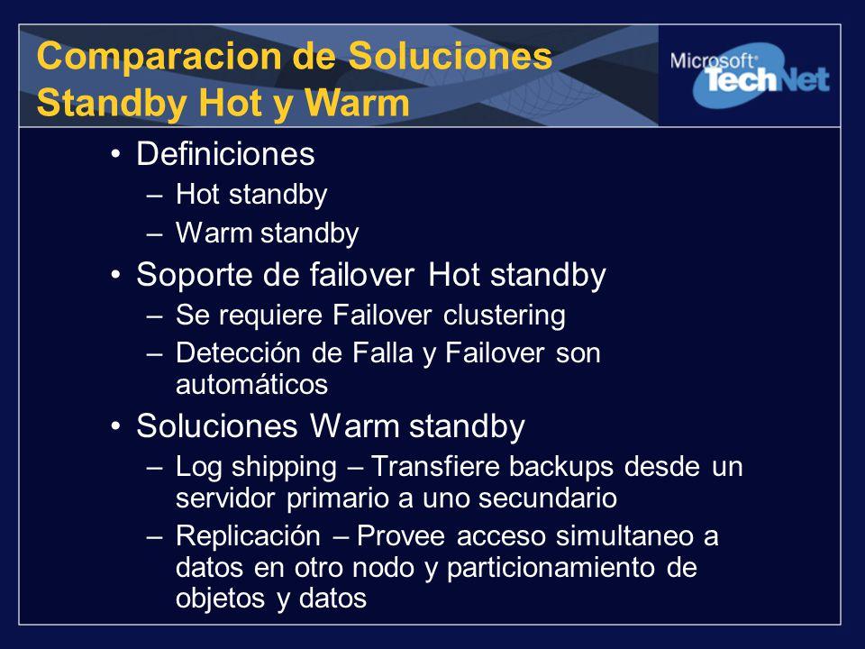 Comparacion de Soluciones Standby Hot y Warm