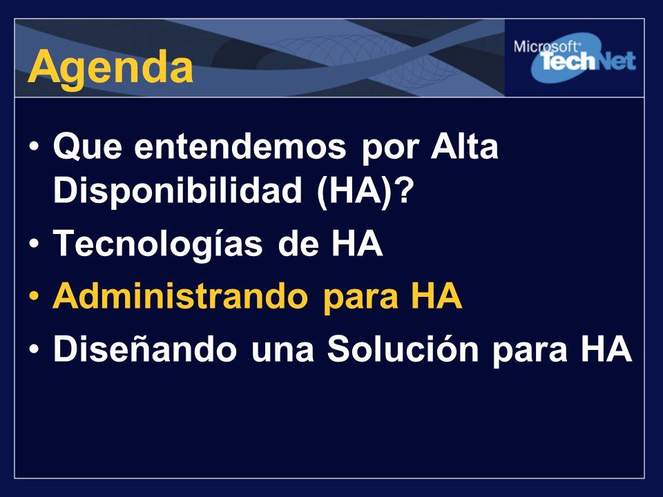 Agenda Que entendemos por Alta Disponibilidad (HA) Tecnologías de HA