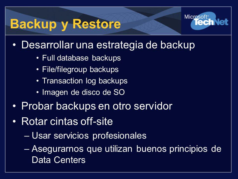Backup y Restore Desarrollar una estrategia de backup