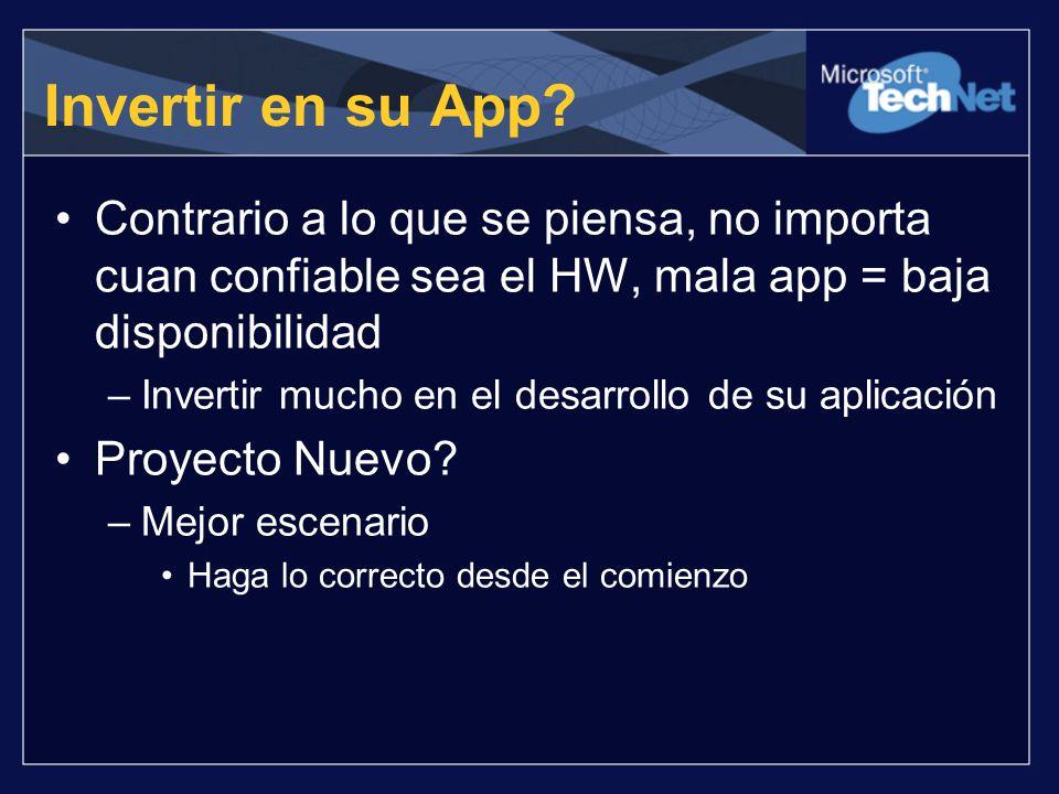 Invertir en su App Contrario a lo que se piensa, no importa cuan confiable sea el HW, mala app = baja disponibilidad.