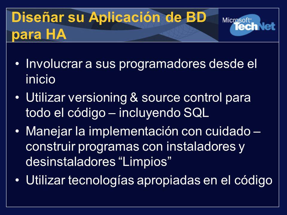 Diseñar su Aplicación de BD para HA