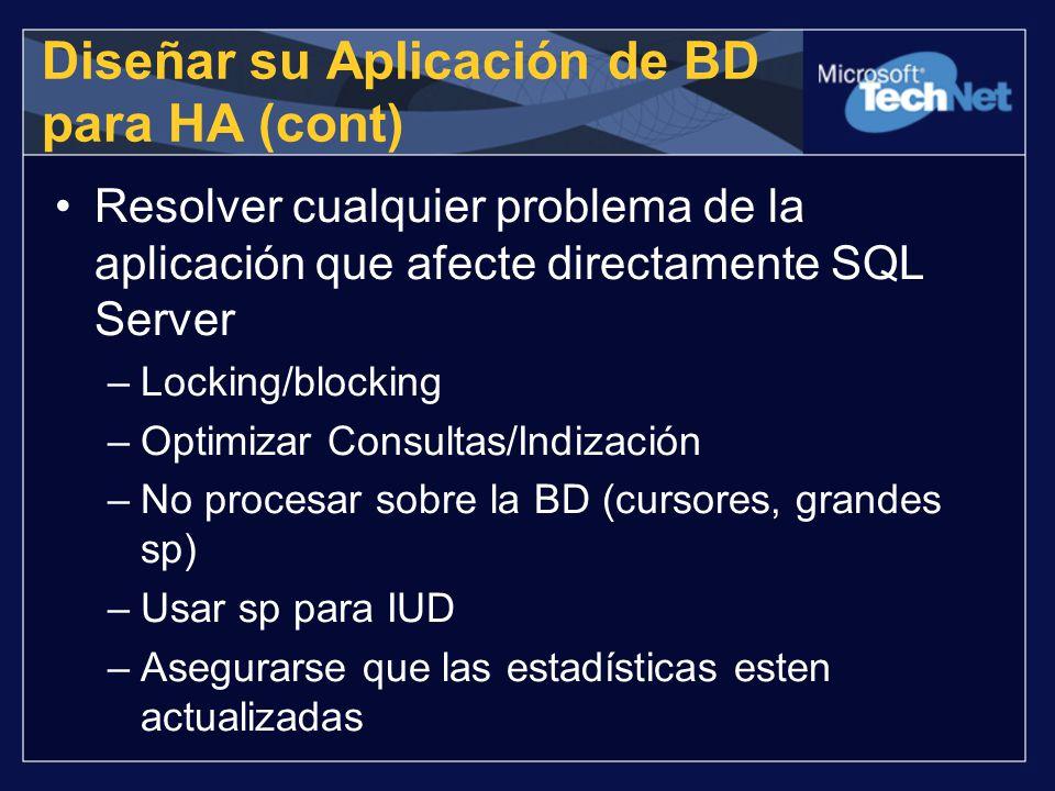 Diseñar su Aplicación de BD para HA (cont)