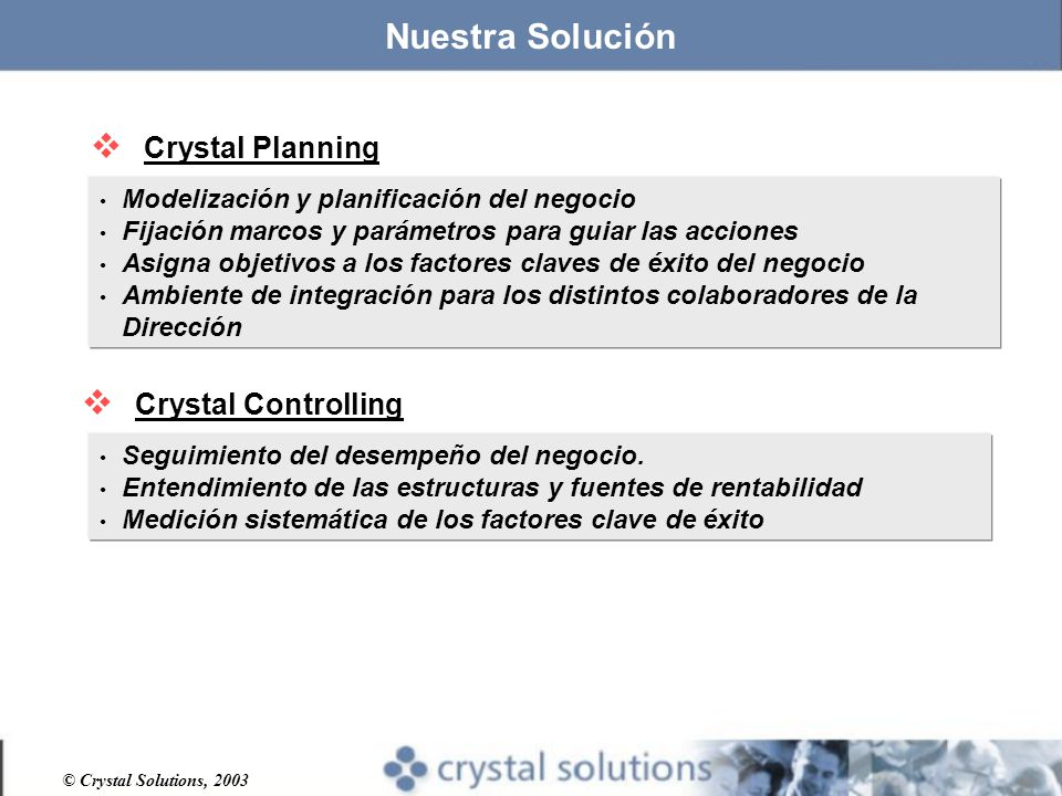 Nuestra Solución Crystal Planning Crystal Controlling