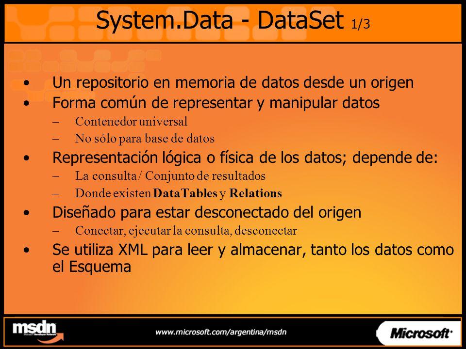 System.Data - DataSet 1/3 Un repositorio en memoria de datos desde un origen. Forma común de representar y manipular datos.