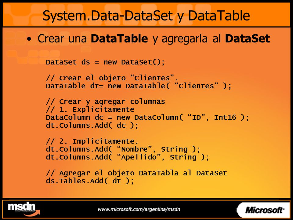 System.Data-DataSet y DataTable