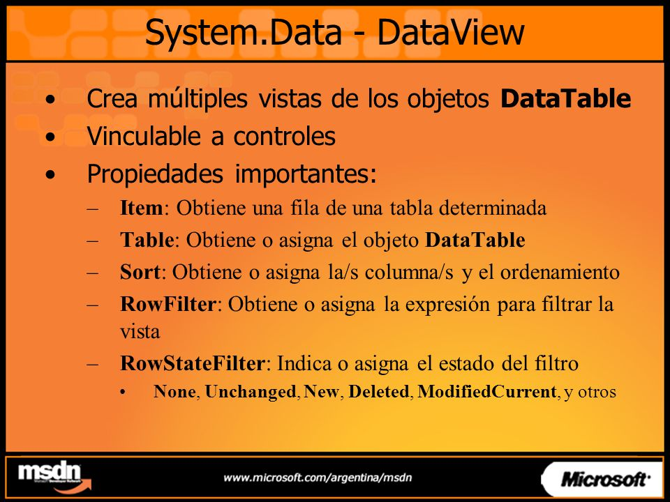 System.Data - DataView Crea múltiples vistas de los objetos DataTable