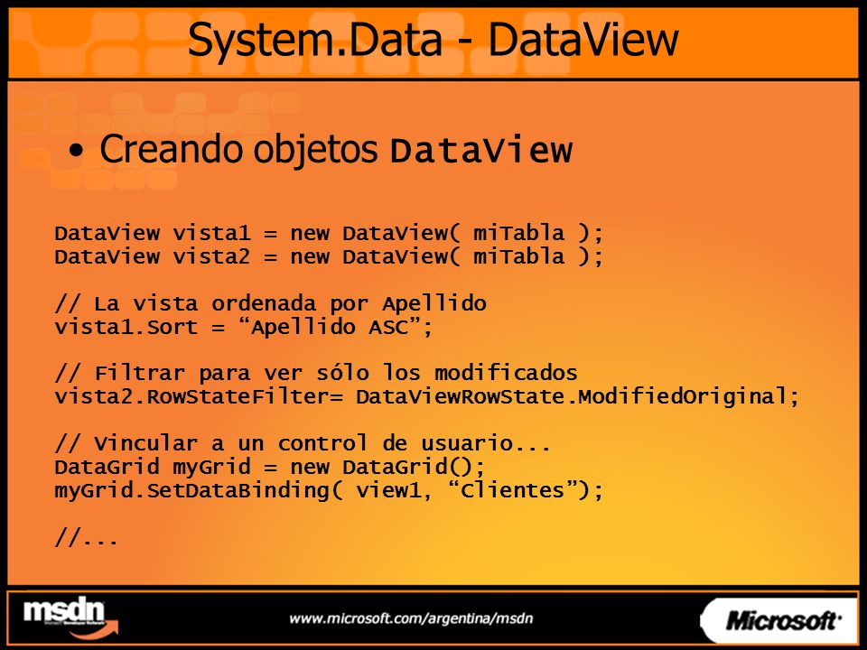 System.Data - DataView Creando objetos DataView