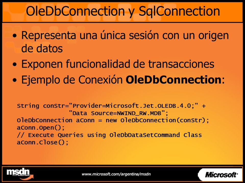 OleDbConnection y SqlConnection