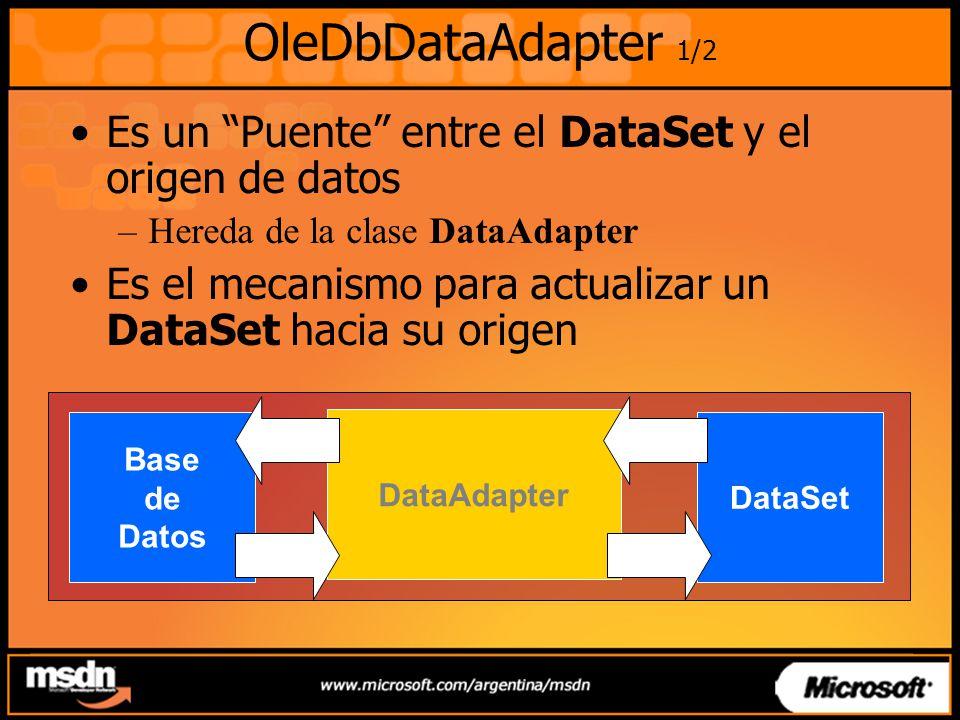 OleDbDataAdapter 1/2 Es un Puente entre el DataSet y el origen de datos. Hereda de la clase DataAdapter.