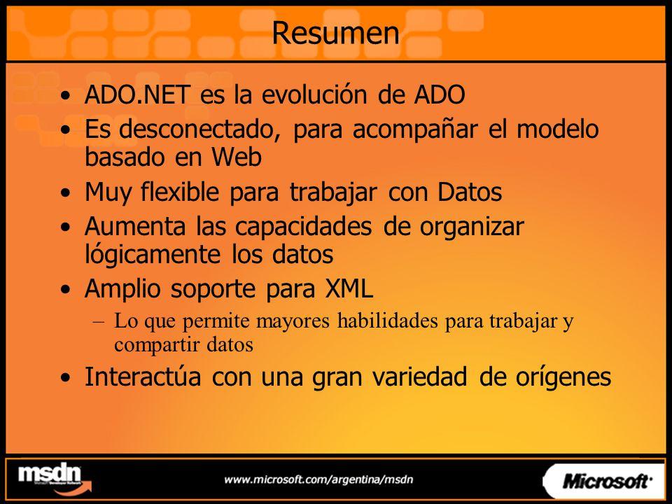 Resumen ADO.NET es la evolución de ADO