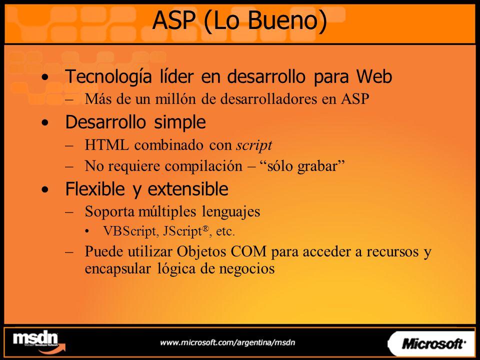 ASP (Lo Bueno) Tecnología líder en desarrollo para Web