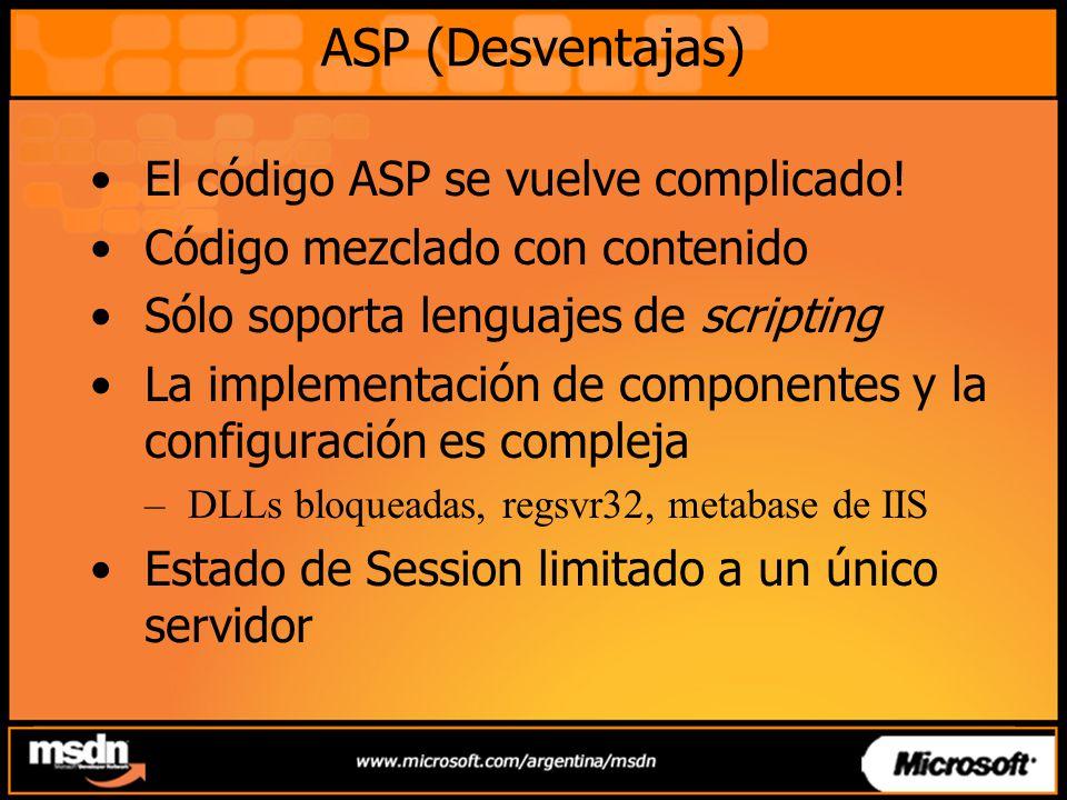ASP (Desventajas) El código ASP se vuelve complicado!