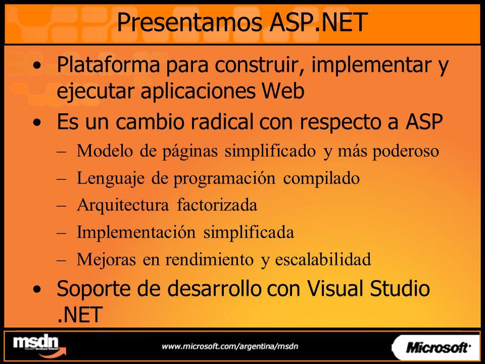 Presentamos ASP.NET Plataforma para construir, implementar y ejecutar aplicaciones Web. Es un cambio radical con respecto a ASP.