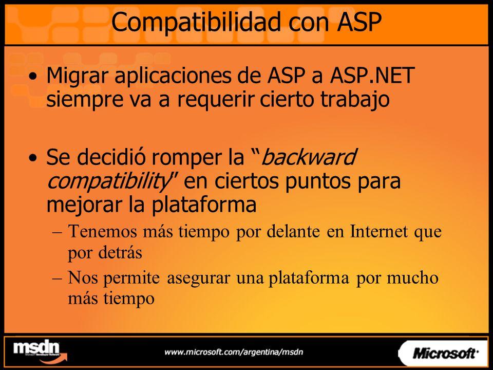 Compatibilidad con ASP