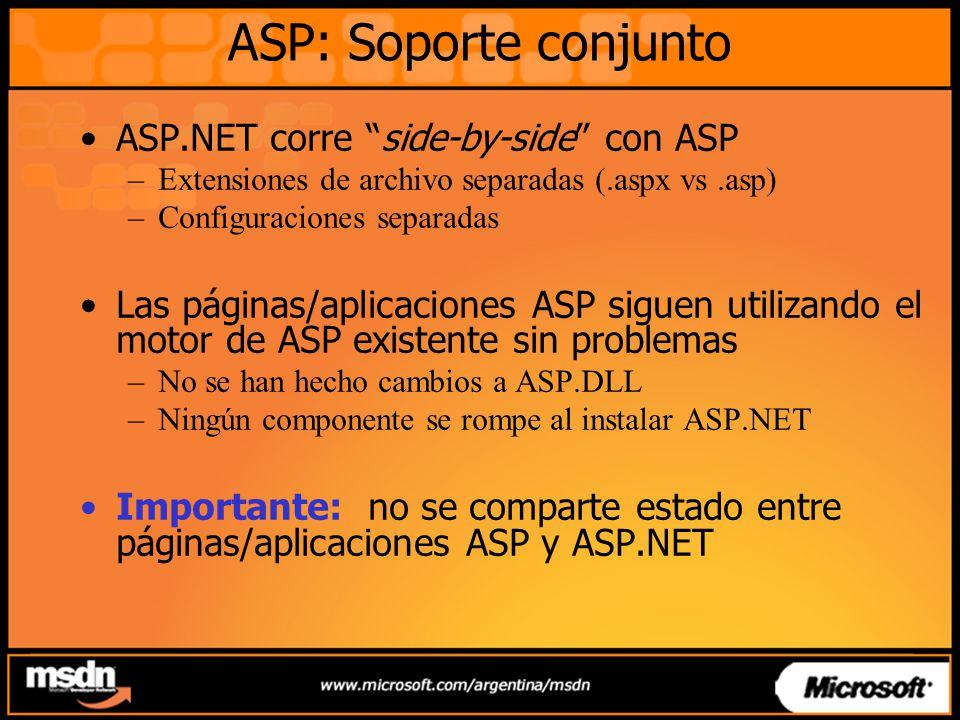 ASP: Soporte conjunto ASP.NET corre side-by-side con ASP