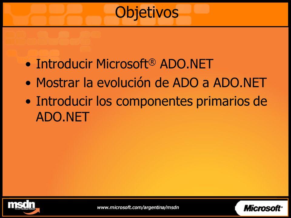 Objetivos Introducir Microsoft® ADO.NET