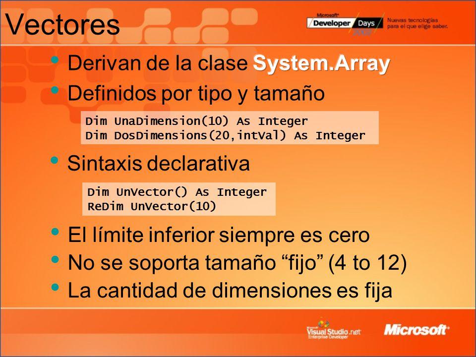 Vectores Derivan de la clase System.Array Definidos por tipo y tamaño