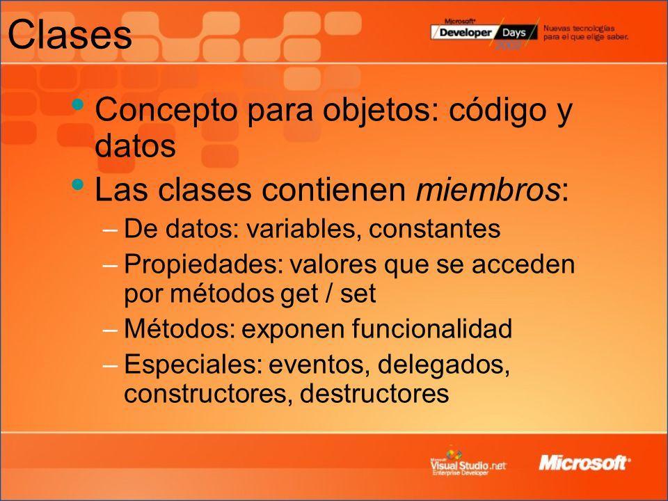 Clases Concepto para objetos: código y datos
