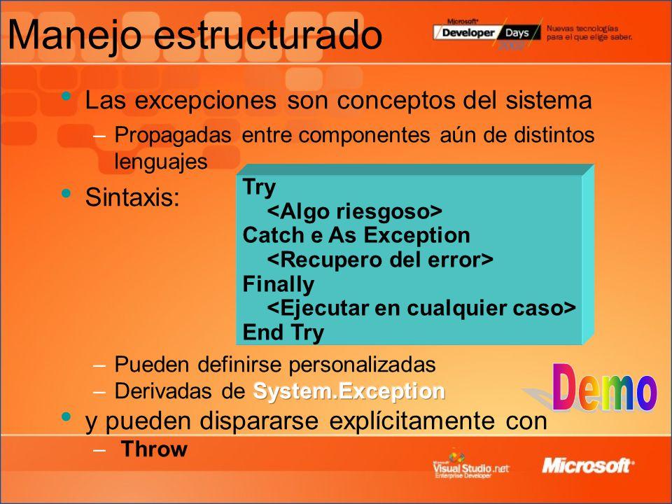 Manejo estructurado Demo Las excepciones son conceptos del sistema