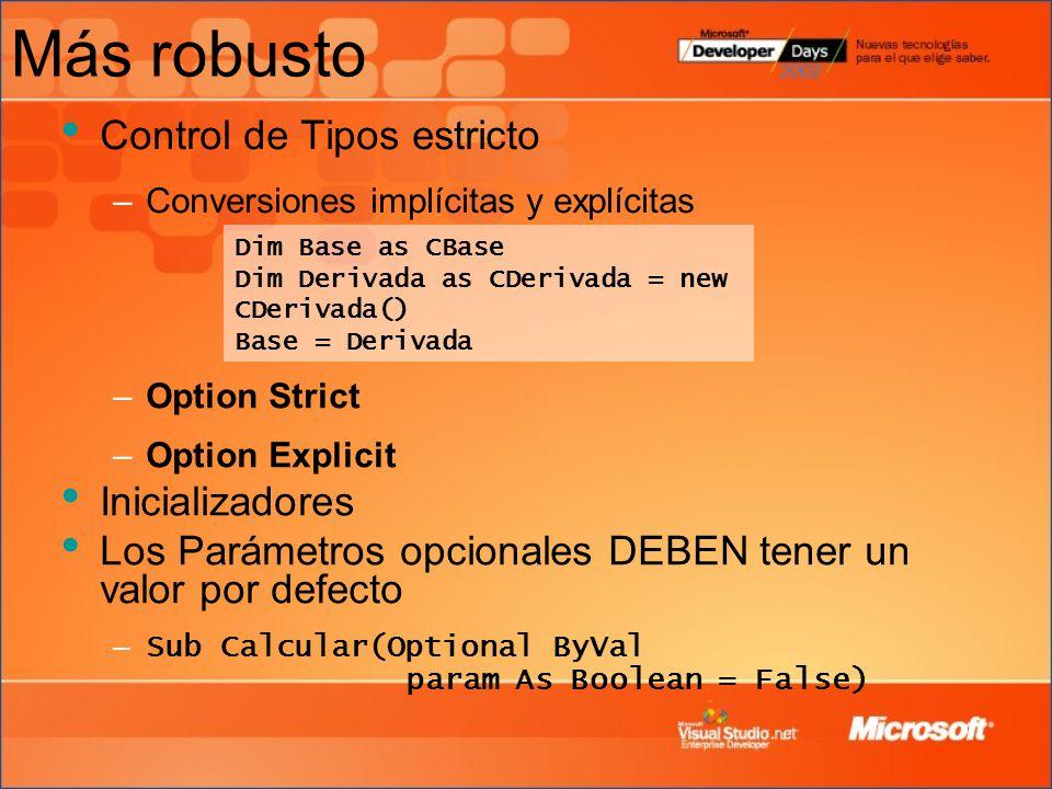 Más robusto Control de Tipos estricto Inicializadores