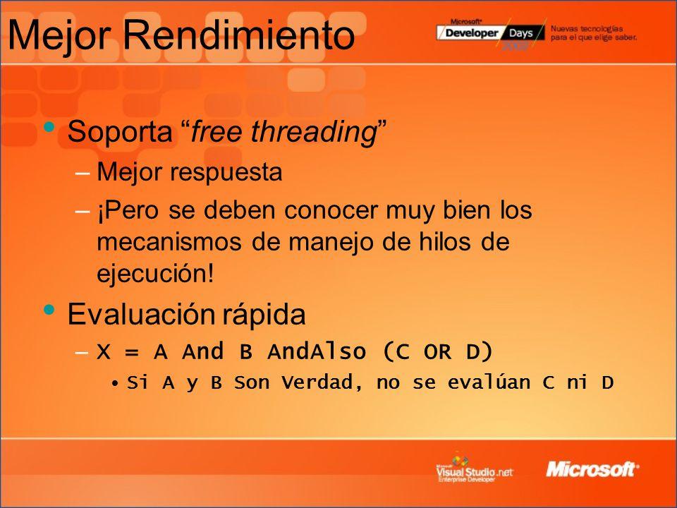 Mejor Rendimiento Soporta free threading Evaluación rápida
