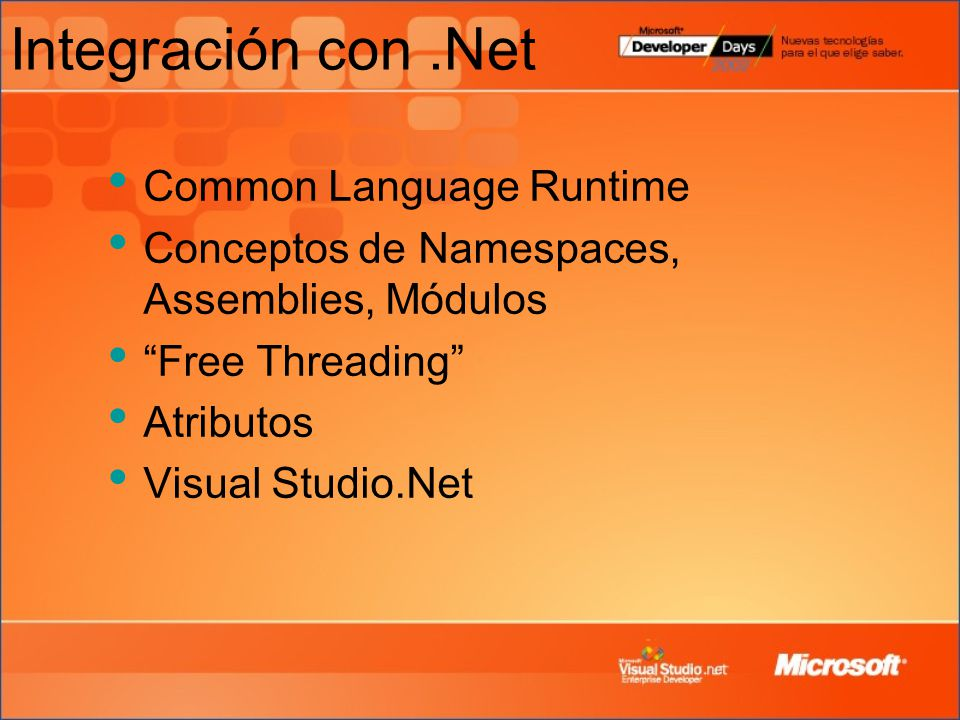 Integración con .Net Common Language Runtime