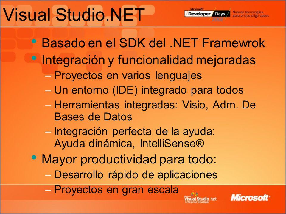 Visual Studio.NET Basado en el SDK del .NET Framewrok