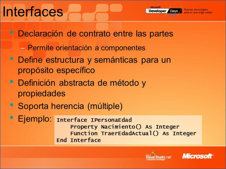 Interfaces Declaración de contrato entre las partes