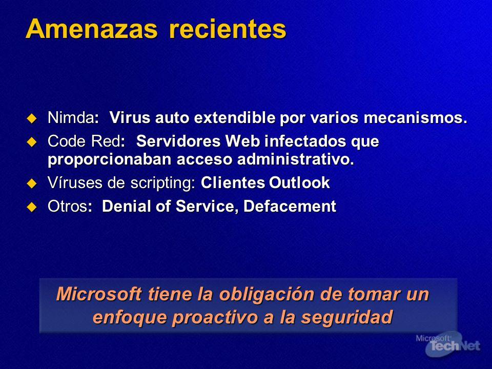 Amenazas recientes Nimda: Virus auto extendible por varios mecanismos.