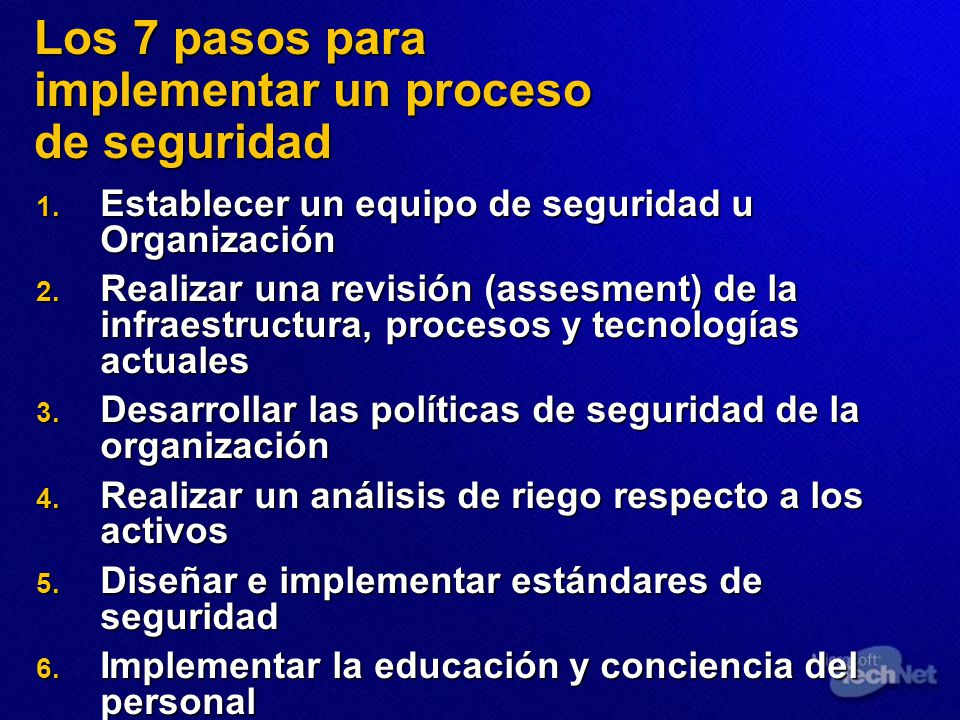 Los 7 pasos para implementar un proceso de seguridad