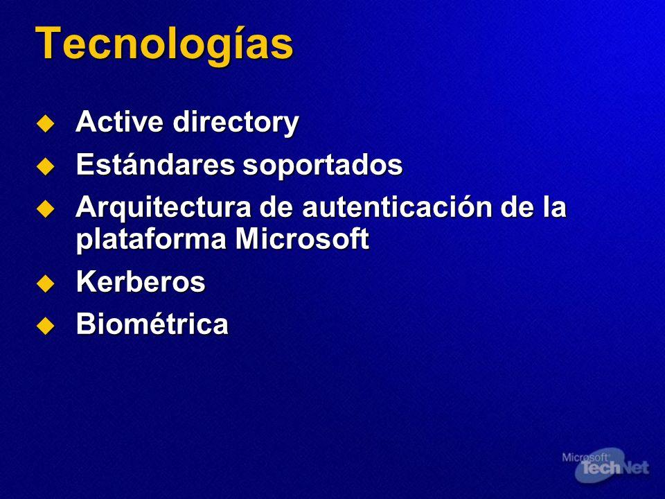 Tecnologías Active directory Estándares soportados
