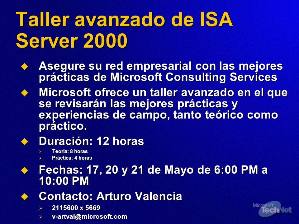 Taller avanzado de ISA Server 2000